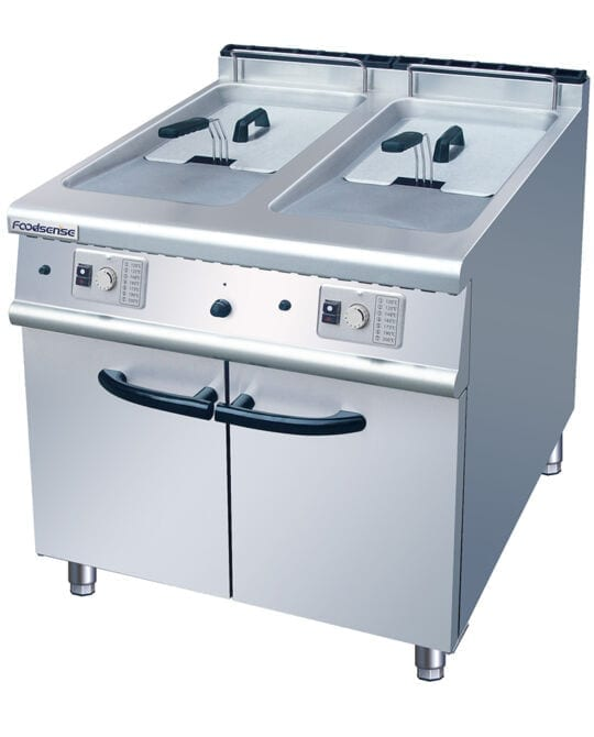 2 tank 2 basket combo fryer with cabinet